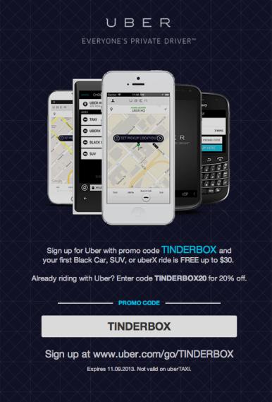 Uber Tinderbox promo
